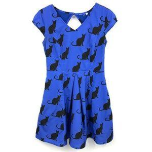 Eshakti Dress M/8 Cat Print Cutout Back V-Neck Ple